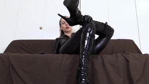 Toys action together with goddess in latex