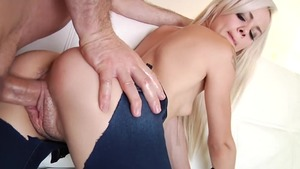 Tight in denim jeans ass pounded