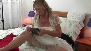 British granny in stockings rides a hard dick solo