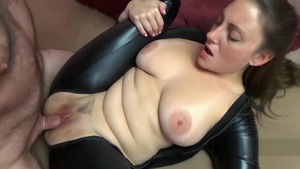 Busty couple Black Cat and Melanie Hicks cosplay cock sucking
