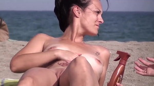 Nude MILF nudist pussy fucking at the beach