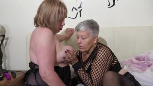 Pussy fucking in the company of chubby granny