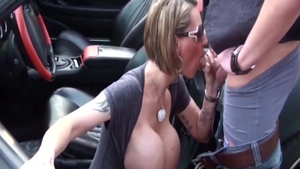 Blowjobs in the company of busty german amateur